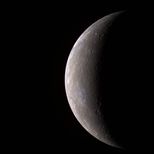 An image of the planet Mercury, taken from MESSENGER