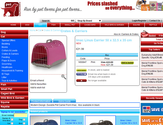 pet supermarket Imac Linus Carriers