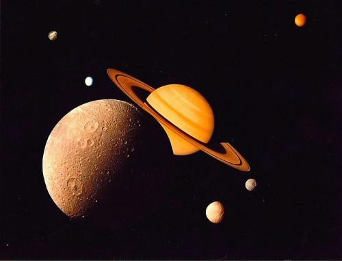 Montage of Saturn and several of its satellites, Dione, Tethys, Mimas, Enceladus, Rhea, and Titan